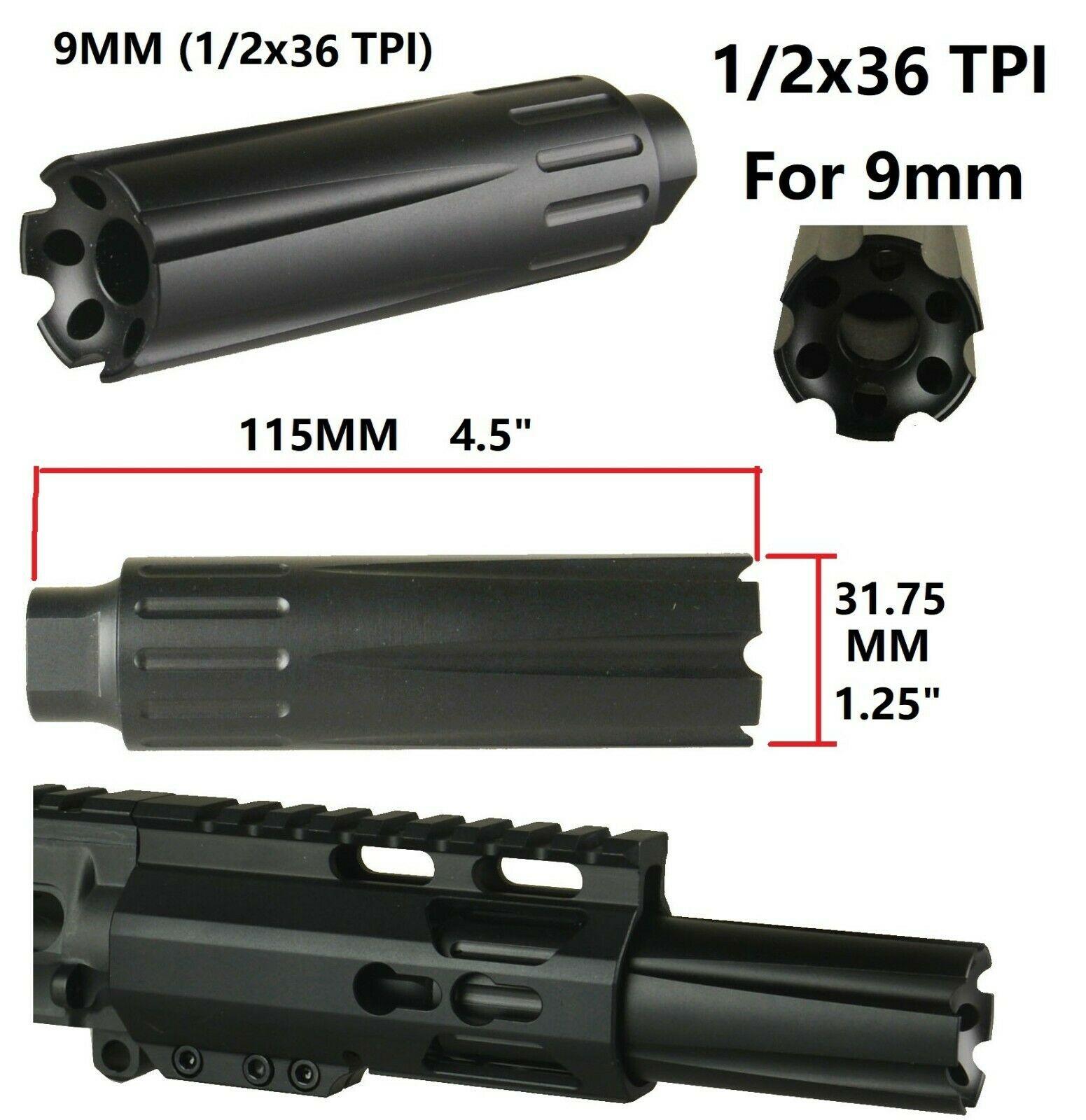 Black Anodized Aluminum Ultra Light 9mm Muzzle Brake Compensator 1//2x36 TPI
